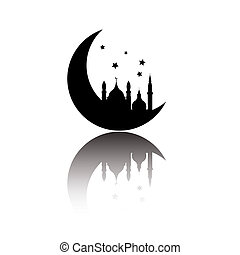 vector, resumen, aislado, plano de fondo, árabe, blanco, icono