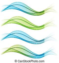 vector, resumen, conjunto, waves., ilustración