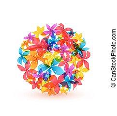 vector, resumen, flores coloridas