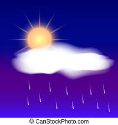 vector, resumen, lluvia, tiempo, sol, nube, icono