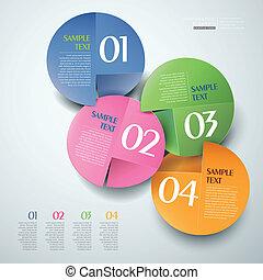 vector, resumen, papel, 3d, infographics
