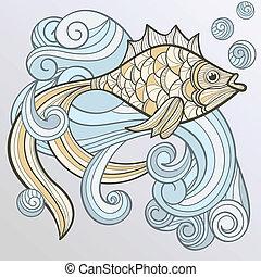 vector, resumen, pez, en, salpicadura, de, agua