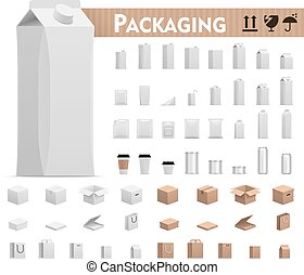 Vector retail packages set - Set of the paper, plastic and...