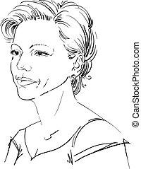 vector, retrato, de, atractivo, mujer, ilustración, de, guapo, serio, female., persona, emocional, cara, expression.