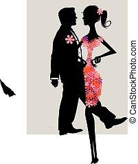 vector, retrato, de, un, pareja joven