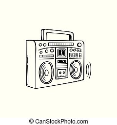 Sound systems retro collection  portable player, headphones