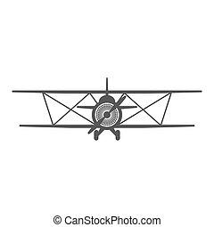 Vector retro airplane illustration. Biplane.