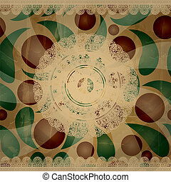 vector retro  background with lacy napkins and floral ornament behind, old paper texture