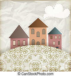 vector retro background with old houses, place for your text