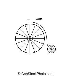 Vector Retro Big Wheel Bycicle - Vector Illustration of a...