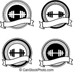 Vector retro bodybuilding badge