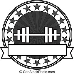 Vector retro bodybuilding badge: black and white colors