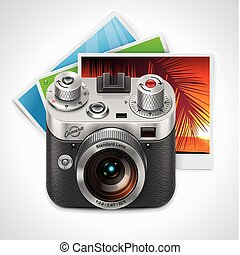 Vector retro camera and photos XXL