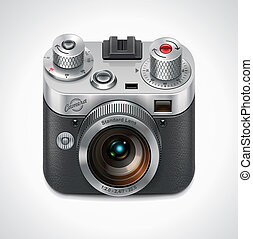Detailed icon representing retro style camera with lens