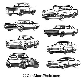 Vector retro car and vehicle - Retro cars and vehicle types....