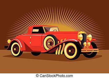 Vector retro car flat illustration