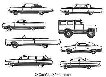 Vector retro cars and vintage rarity automobiles - Retro...
