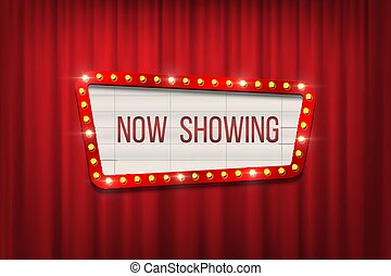Vector retro cinema announcement board with bulb frame on red curtains background.