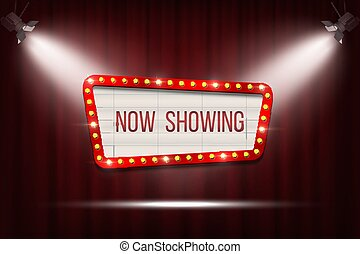Vector retro cinema announcement board with bulb frame on red curtains background with spot lights.