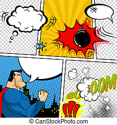 Vector Retro Comic Book Speech Bubbles Illustration. Mock-up...