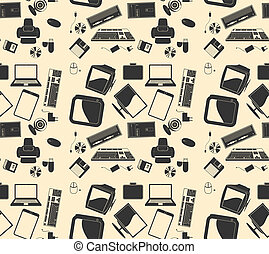 Vector  retro computer. background pattern