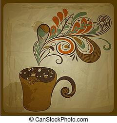 vector, retro, concepto, composición, con, estilizado, taza de café, en, papel arrugado, textura
