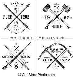 Easy to edit! Clipart badge and vintage hipster logo set. All pieces are seperated and easy to edit, including distressed overlay.