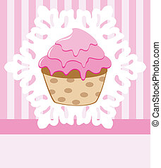 vector, retro, cupcake