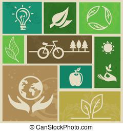 vector, retro, etiquetas, con, ecología, señales