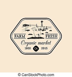 Vector retro family farm logotype. Organic premium quality products badge. Hand sketched rural landscape illustration
