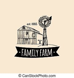Vector retro family farm logotype.Organic premium quality...