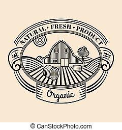 Vector retro farm fresh engraving logotype. Vintage organic bio products badge. Eco food sign.