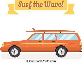 Vector retro flat web banner design on surfing, best summer vacation, beach recreation, water activities for travel agency promotion with woody surf car, surfboards. Vintage car isolated.