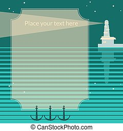 Vector retro frame with lighthouse.