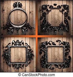 vector retro frames on wood set