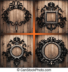 vector retro frames on wood set