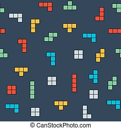 Vector retro game seamless pattern background. Video old computer game
