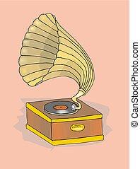 vector retro gramophone illustration eps 10