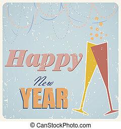Vector retro happy new year card