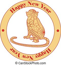 retro happy new year sticker with monkey