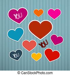 Vector Retro Hearts Background
