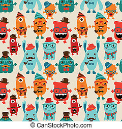 Vector Retro Hipster Monsters Seamless Pattern