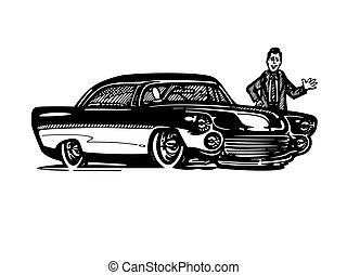 vector, retro, hotrod, auto, clipart, spotprent, illustration., classieke, vintage auto