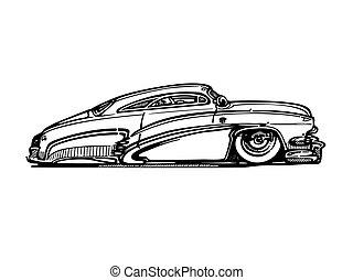 vector, retro, hotrod, coche, clipart, caricatura, illustration., clásico, coche de la vendimia