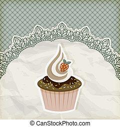 vector retro  invitation temlate with cupcake on lacy napkin