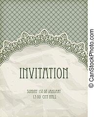 vector retro  invitation temlate with  lacy napkin