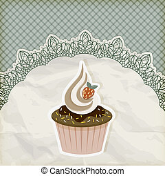 vector retro  invitation temlate with cupcake on lacy napkin