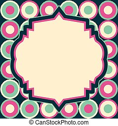 vector retro label layout on abstract geometric seamless pattern
