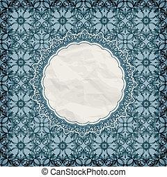 vector retro lacy napkin on seamless blue pattern