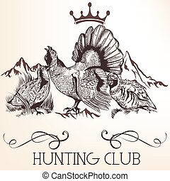 Vector retro logotype design for hunter club, badges etc